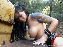 Dude, these bitches presented in Pack of Porn sex clip are worth checking out. Kinky nymphos with heavy makeup get rid of leather long coats. Tattooed brunette bends over the old vehicle while busty redhead uses a stick to stimulate the nympho's clit and wet pussy. Gosh, rapacious whorish gals thirsting for orgasm can make any man jizz in a flash for sure.