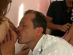 Brunette Nicole Sweet with massive tits and hairless muff and George Uhl have a lot of fun in this oral action