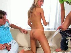 Eugeniusz grishik and liutenja know how to party. Watch the eastern-european teen studs pounding the sexy blonde's pussy and mouth into a spectacularly intense orgasm.