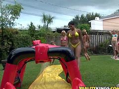 Josh and Taylor enjoy in making a hot pool party for Lexxy and her friends and get to play with all those tight young asses in their garden