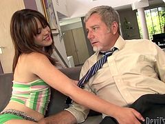 Horny gaffer wins a chance to be pleased by amazing sexy brunette gal. Palatable chick with rounded smooth ass has sweet tits and is already a great pro in giving a solid blowjob and a tender handjob to win lots of sperm.