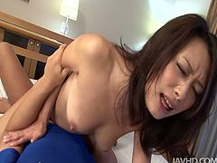 Well, this Japanese black head with pale tits like threesome, cuz it's a great chance for her to demonstrate dick sucking and riding skills. Slim chick loves missionary style, cuz it's the only good way to polish her too hairy pussy.