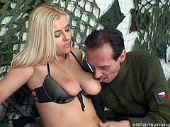 Mesmerizing blond babe in steamy black lingerie gets her big milky tits oral stroked by rapacious daddy before he gets to her pinkish vagina for a tongue fuck. Later she rubs his cock with hand and oral fucks it in perverse sex video by Pack of Porn.