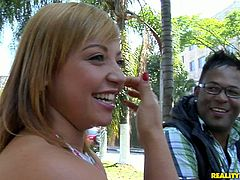 Voluptuous Latin mature hooks up with a sex greedy Indian dude in the street. She invites his over at her place to swim in a luxurious pool.