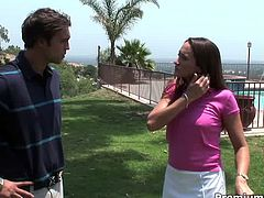 Two sex hungry folks meet up on the golf course. They head home where a rapacious brunette mature kneels down to oral fuck a sturdy penis before she gets fucked with pressure in doggy and missionary styles until an aroused dude creampies into her snatch.