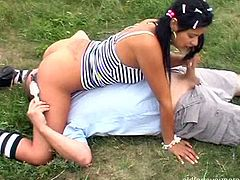 Curvy Latin amateur welcomes tongue fuck from perverse daddy in pose 69 before she gets on his strain dick for a ride in reverse cowgirl style.