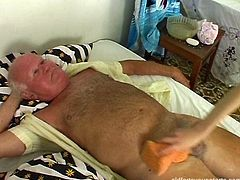 Young mesmerizing blondie has to take care of grey-haired grandpa , however he expects her to do something more than washing and feeding him, for instance, suck his hard cock in pose 69.