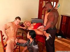 Two insatiable milfs: blond and brunette take part in steamy group sex orgy where they give blowjob, get fucked in missionary and cowgirl styles and finally give a foot job in perverse group sex clip by Tainster.