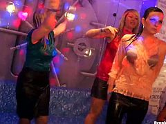 Drunk and spoiled white milfs get into a tiny pool right in clothes where they get totally wet. Later they start dancing in a sultry way in perverse group sex video by Tainster.