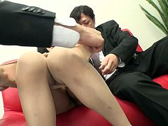 Naive Japanese chic is surrounded by two horny daddies who squeeze rapaciously her big milky tits before they stick their hands under pantyhose to stroke hairy pussy through panties in sultry threesome sex video by Jav HD.