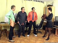Dude, this brunette in glasses isn't pretty. Slim whorish clerk has droopy ugly tits and not cute tits. But tanned bitch in stockings is a hot lover. Just look the way this whore rides and sucks three cocks right on the floor in Pack of Porn sex clip and you'll jizz at once.