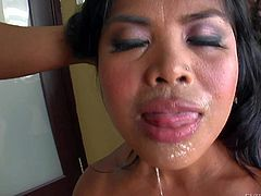 Nasty and arousing dark haired asian milf with nice boobs gets dominated by black dude Prince Yahshua and his friend Jonni Drakko in a hot deep throat giving session