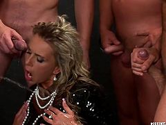 Bunch of beefy aroused dudes stand aroused a filthy blond mature and piss on her simultaneously before she starts sucking their sturdy cocks in turns in insane gangbang sex orgy by Tainster.
