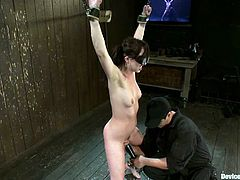 It's a kinky BDSM porn video with Lindy Lane, a brunette chick who gets blinded and toyed while she's bounded.