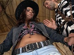 Samia Duarte receives two large dicks pounding her right and filling her with jizz