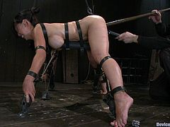 A gorgeous Asian fucking whore gets pinned down by bondage devices and tortured by a sadist fucker, but don't worry pain is pleasure for her!