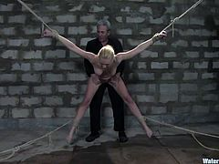 A submissive blonde fucking whore gets toyed with in this hardcore BDSM scene with different torture techniques. Check it out!