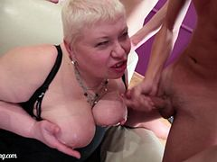 Press play on this hardcore video and watch this BBW granny being gangbanged by a pack of horny guy as she ends up with her big natural tits covered by their cum.