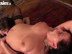 She is old woman with wrinkled skin, however she is still lustful bitch who is dreaming of hardcore sex with young studs. So she seduces one serving him her wet shaved snatch. He stick his tongue to the stinky cunt polishing it properly. Woman is loving he action coz she is moaning and groaning with pleasure.