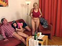 Pack of Porn sex clip provides you with a hot FFM fuck session. Brunette with nice butt is ready for threesome with horny old couple. Ugly wrinkled old bag shows her the way she sucks the gaffer's dick for cum. Then kinky black head with sweet tits takes the lead and gives a solid blowjob for sperm.