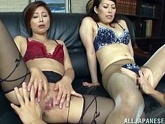 lucky boss gets two pussy to fuck.