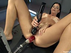 It's true, nothing fucks India's tight ass better the a dildo strapped to a metal fucking machine! She just loves the rhythm and roughness of her sex machine and the fact that it can go on and one as long as she wants. India's hot anus deserves a hard drilling and because she's such a lustful whore she wants more