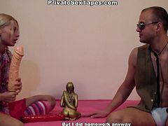 Just look at this awesome amateur couple presented in WTF Pass sex clip. Kinky slim blondie with braids is fond of yoga and Kama Sutra. Wondrous girlie with droopy tits and smooth appetizing ass throws a dildo away and pulls up her leg in stocking to be fucked from behind tough. Ardent dick rider is surely a versatile slut, who can make any man jizz at once.