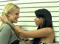 Blond hussy is fucked in a shop