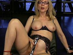 Sexy mature with big tits and shaved pussy enjoys posing when deep masturbating