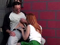 After a hard day of training I went in the locker room where I found the gorgeous cheerleader Dani. She was superb and seeing me tired the bitch had a great idea to relax me. Dani started to suck my cock and then I ate her pussy. This sensual redhead deserves her role as a cheerleader and every drop of my cum