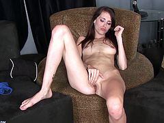 This skinny bitch causes a stir when she tapes her fingering session. This bitch may not have a man to fuck her, but she gets thousands of men wanking for her!
