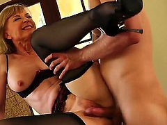 Danny Wylde loves always wet warm fuck hole of Nina Hartley with bubbly bottom and trimmed bush