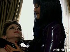 This scorching mistress Aradia is a real pro when it comes to punishing her slaves. She takes lash in her hands and whips her slave's ass hard. There is lot of pain given to the slave, as she gets her juicy pussy fucked with a dildo.