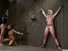 A tranny with a big dick fucks brunette chick and forces her to suck on that big tranny cock while they're bound and restrained.