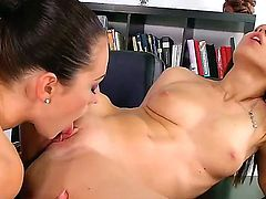 Smoking hot tempting brunette secretaries Dana Weyron and Denise Sky with tight asses in white shirts and black skirts get naked while making out and lick each other in office.