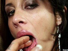 Stunning brunette toys both holes at the same time. After that she gives deepthroat blowjob and gets fucked hard in the ass.