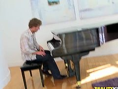 She is dirty black girl with ample ass. Her perverted music teacher seduces her for passionate sex. Ebony hoe put on outright red bikini posing in front of him. Then she bends over the piano getting her pussy and asshole polishes properly.