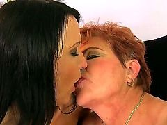 Intergenerational lesbian sex scene with Chanel and Lady Bella would blow up your imagination. Old and young girls are licking well before having fun with strap on.