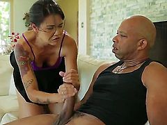 Cute and sexy Asian girl Dana Vespoli is experiencing wild fuck with extra giant black dick that is banging her tight asshole.