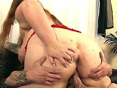 Fatty redhead with sexy tattoos Bailey Belle sucks and rides the dick of Jack Vegas