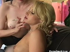 Wild babes are smoking and masturbating in the same time during softcore scene