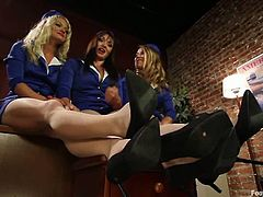Bella Bends, Bella Wilde and Lea Lexis are playing dirty games after work. They pet each other ardently and then demonstrate their foot-fucking skills.