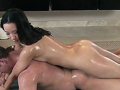 Brunette babe with wonderful fresh parts of body Miko Sinz is going to give nice nuru massage to her boyfriend. She is sliding on him before sucking and stroking his cock.