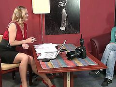Young blonde girl Eve D is answering to naughty questions at the interview with Silvia Saint and then undressing and demonstrating hot body!