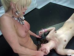 Curly-haired sweetie Bonnie Day is playing dirty games with blonde ladyboy Joanna Jet. Joanna plays with Bonnie's tits and then fucks her awesome butt doggy style.