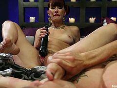 See the hot foot fetish action in this femdom video featuring the skilled Maitresse Madeline who has fun playing with this fella's dick.