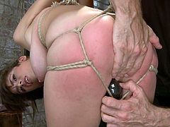 Hot brunette Nina Lopez gets bound and suspended in a cellar. Then she gets beaten and tormented and seems to enjoy it much.