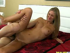 Sweet blonde chick shows her slim body. After that gives skillful blowjob and takes big dick in her smooth pussy. She also gets her pretty face covered with cum.