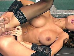 Euro glamour girl in black stockings and high heeled shoes is talking so dirty and masturbating very well in this cool action! Enjoy watching all the stuff taking place here.