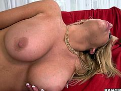 Busty blonde mom Tasha likes cock just as much as she enjoys getting filled with semen so why not get both? She rides that massive dick in reverse cowgirl filling her womb and then receives a pussy lick. Tasha is now ready to get filled up with some hot semen and receives some. What a whore!